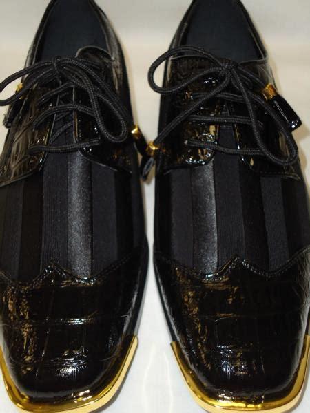 sku pk943 mens cool black wingtip style satin dress shoes
