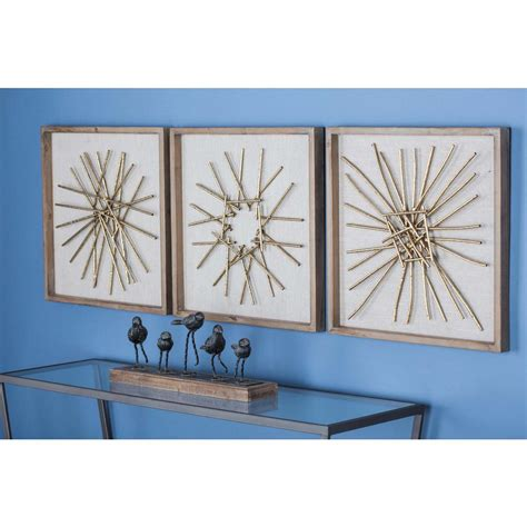 Home Depot Wall Decor by 3 Modern Abstract Gold Finished Iron Accents Metal