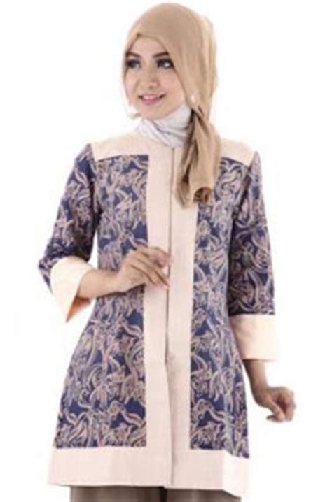 Tunik Batik V Kombi 10 desain baju batik muslim kombinasi dengan kain polos