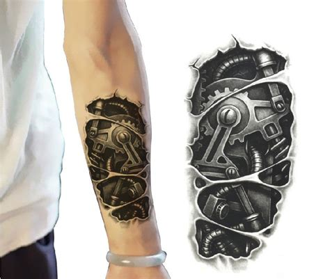 cool 3d mechanical arm temporary tattoo tattoo by nicecoco