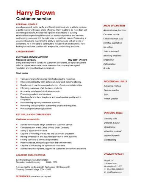 Resume written for a customer service vacancy retail