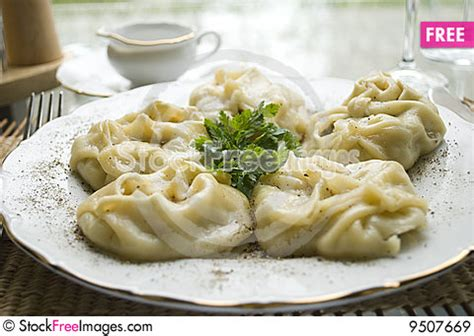 traditional kazakh and uzbek dish manti free stock