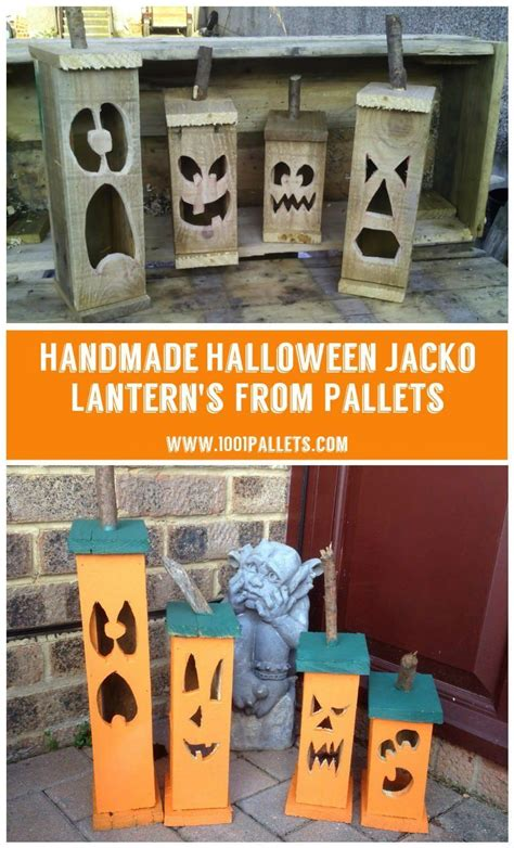 handmade halloween pallet jacko lanterns woodworking