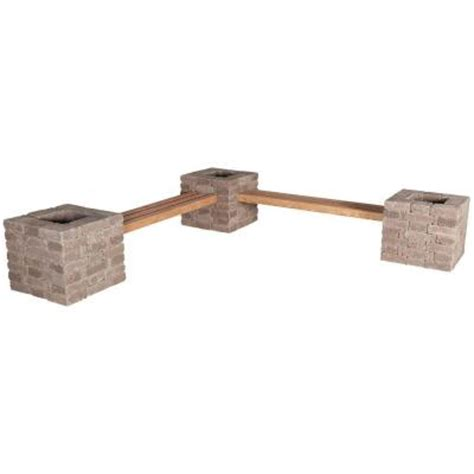 pavestone bench pavestone rumblestone 114 in x 24 5 in rumblestone bench planter kit in cafe