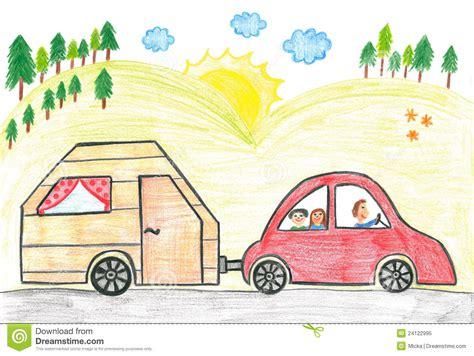family car  caravan stock illustration image  drive