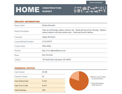 Home Construction Budget Office Furniture Budget Template