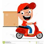 Delivery Man In Scooter Stock Vector  Image 45548006