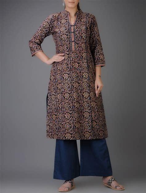 kurti pattern with collar buy black blue ochre kalamkari printed mandarin collar