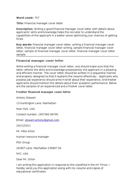 Cover Letter Finance Manager Exle Financial Manager Cover Letter Corrected