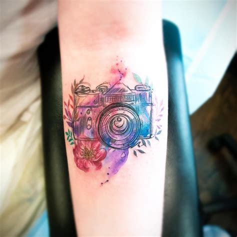 camera tattoos watercolour today