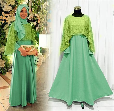 Model Baju Muslim Gamis Terbaru Dan Modernfo Gamis Sulis baju gamis pesta brokat kombinasi terbaru hijau toska baju gamis terbaru