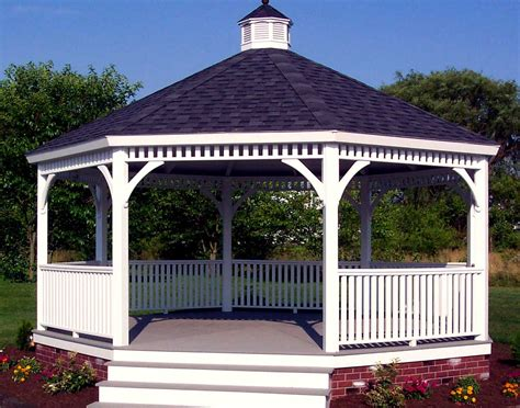 gazebo creations vinyl single roof octagon gazebos with metal roof