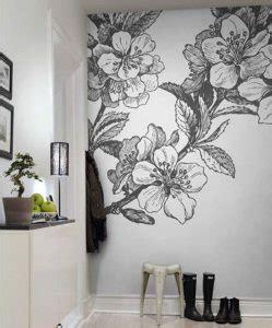 Lukisan Hiasan Dinding Ranting Background Putih 12 mural hitam putih dengan motif bunga yang nomer 8
