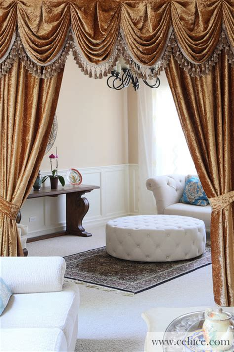 Swag Curtains For Living Room Gold Velvet Pleated Austrian Style Swag Valance Curtains Modern Living Room Seattle By