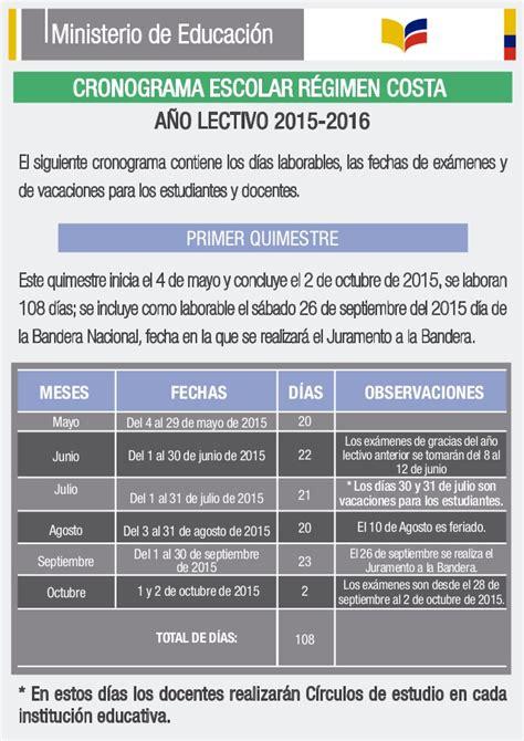 inscripciones ciclo costa periodo lectivo 2016 2017 cronograma escolar del ano lectivo 2015 2016 costa 1