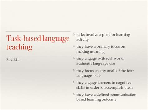 task based task based language teaching
