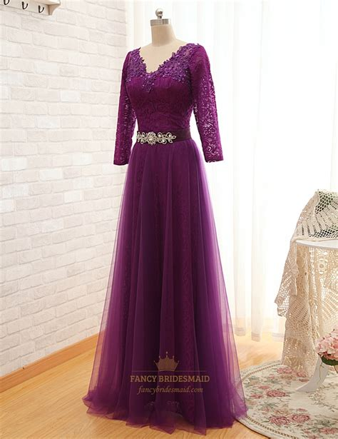 purple floor l purple floor length v neck tulle dress with lace sleeves