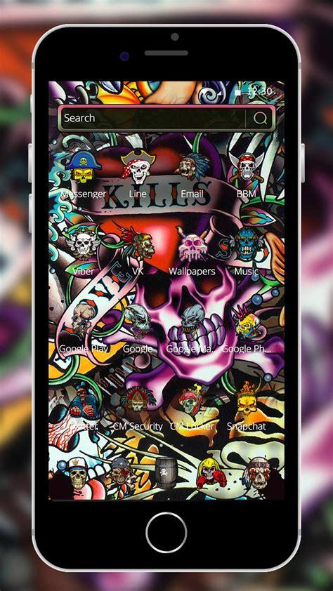 rock skull graffiti theme lock screen call  android