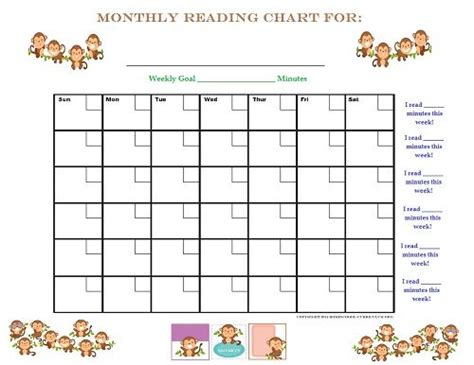 printable monthly reading calendar free printable monkey kids reading chart for any month