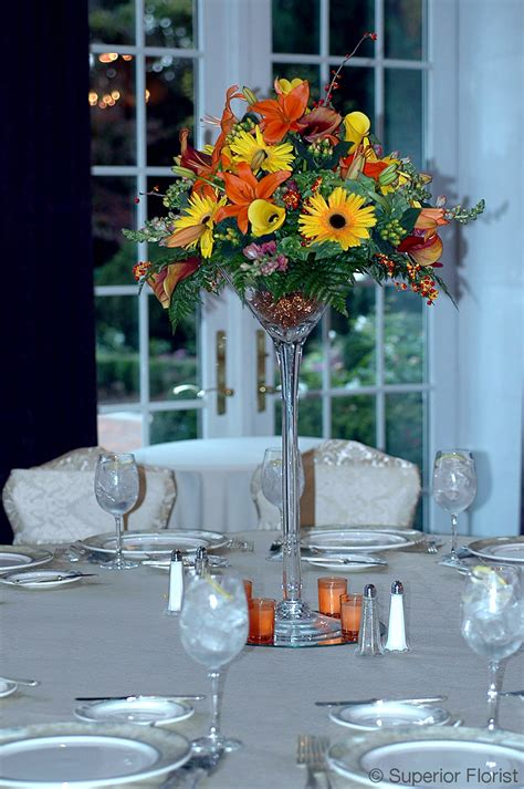 Superior Florist Centerpieces Autumn Flowers Including Glass Vase Table Centerpieces
