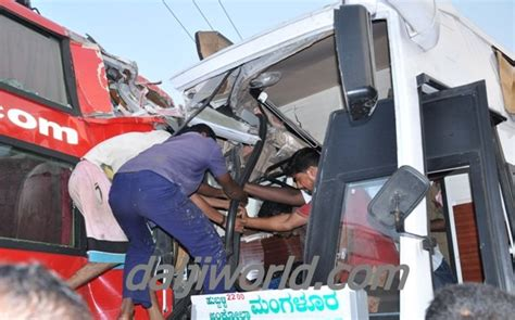 Sleeper Buses From Bangalore To Mangalore by Driver Killed 15 Passengers Injured As Buses Collide At