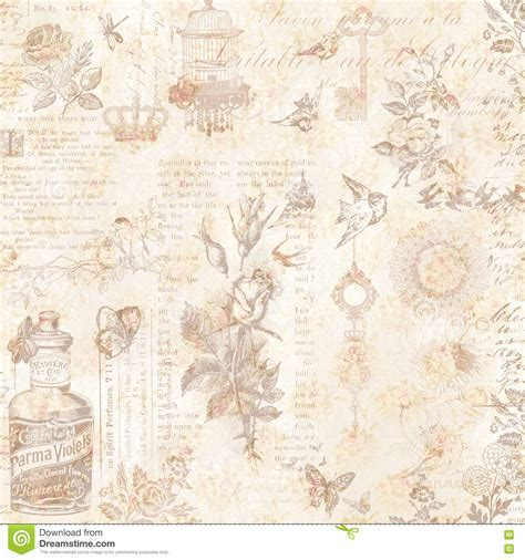 vintage bird and flowers collage background royalty free