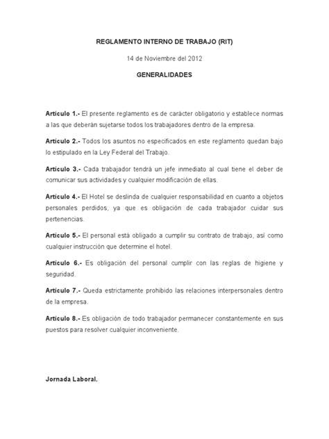 reglamento interno de escuelas preparatorias oficiales 2 reglamento interno de trabajo de un hotel cinco estrellas