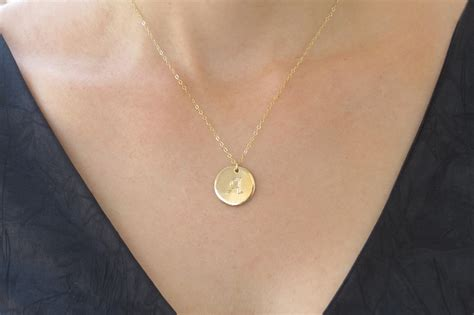 Initial Necklace, Gold Necklace, Letter Necklace, Gold Disc Necklace, Bridesmaid Gift, Initial