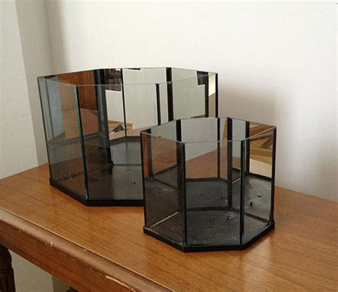 Mirrored Indoor Planters by Large Mirrored Glass Hexagonal Terrarium By Store