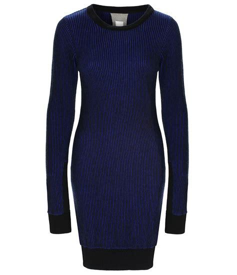 bench jumper dress bench overprint long knitted jumper dress in blue lyst