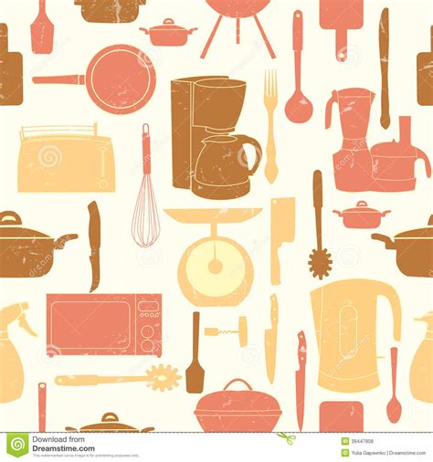 kitchen pattern vector free grunge retro vector illustration seamless pattern of