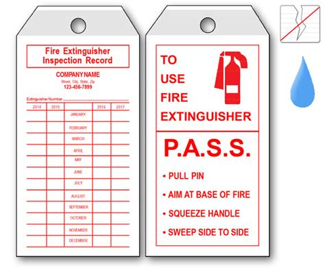Extinguisher Inspection Tag Template by Equipment Tags Labels