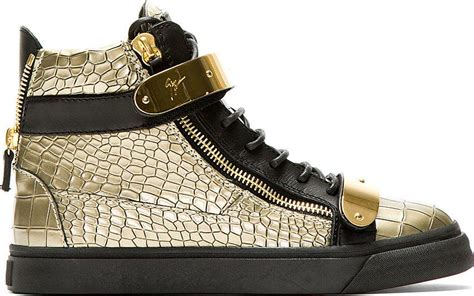 Versace Metallic Croc Sted Hitbag by Giuseppe Zanotti Gold Croc Embossed High Top Sneakers In