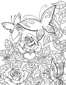 butterfly garden coloring pages spring