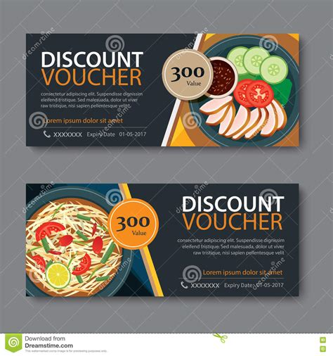 discount food discount voucher template with thai food flat design stock vector image 72046183