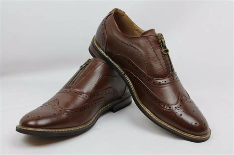 new s brown dress shoes wing tip zipper perforation detai parrazo wood6 ebay