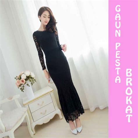 desain gaun hitam panjang gaun pesta malam panjang hitam rp 255k