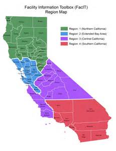 4 regions of california map detailed facility search facit