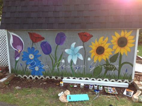 flowers painted  garden shed garden wall art flower