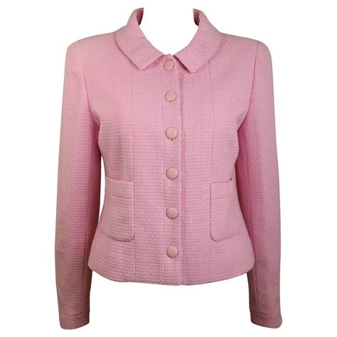 Jaket Hk Pink chanel classic pink tweed boucle cropped jacket for sale