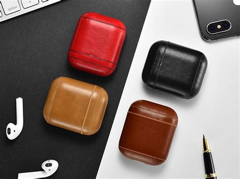 leather airpod case pebblered stacksocial