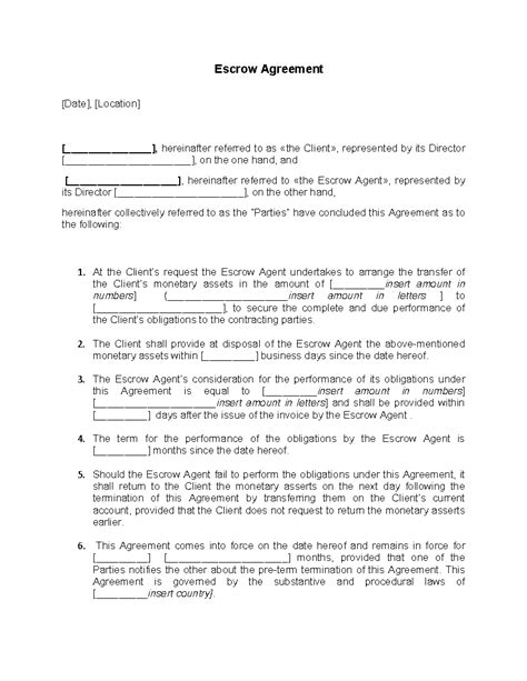 sample escrow agreement word