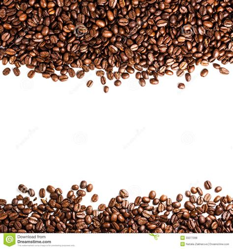 Coffee Beans Isolated On White Background With Copyspace