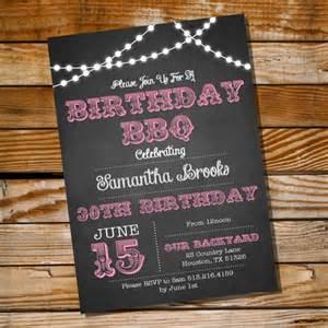 chalkboard bbq birthday invitation 16th 20th 21st 25th 30th