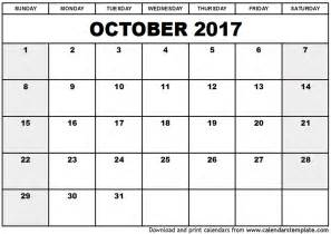 Calendar 2017 October Printable October 2017 Calendar Template