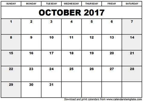 Printable Calendar For October | october 2017 calendar printable printable calendar templates