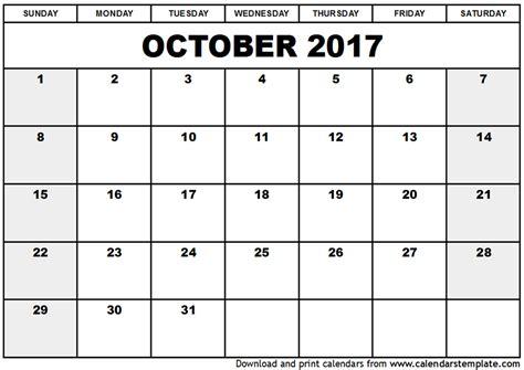 October 2017 Calendar Excel   weekly calendar template