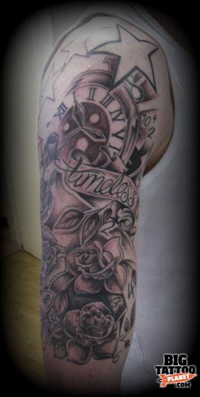 timeless sleeve tattoo designs dez black and grey big planet