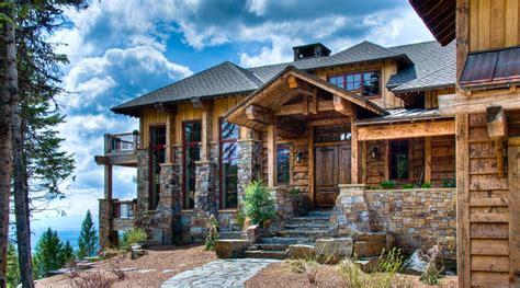 western rustic timber montana mountain ski home