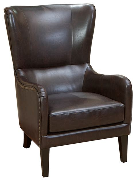 Brown Wingback Chair by Clarkson Brown Leather Wingback Club Chair Transitional